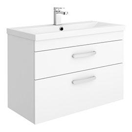 Brooklyn 800mm Gloss White 2 Drawer Wall Hung Vanity Unit