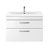 Brooklyn 800mm Gloss White 2 Drawer Wall Hung Vanity Unit profile small image view 1