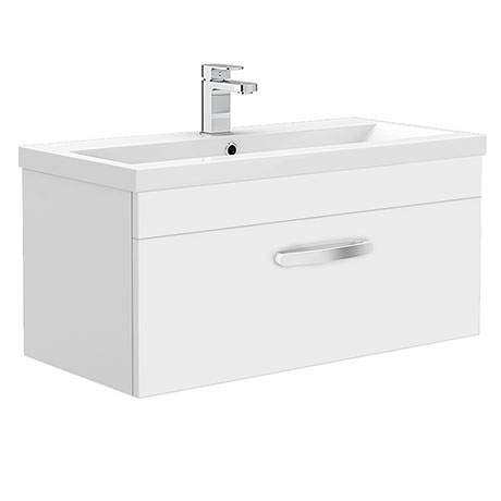 Brooklyn 800mm White Gloss Wall Hung Vanity Unit - Single Drawer