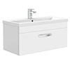Brooklyn 800mm White Gloss Wall Hung Vanity Unit - Single Drawer profile small image view 1