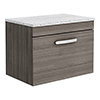 Brooklyn Wall Hung Countertop Vanity Unit - Grey Avola - 600mm with White Worktop & Chrome Handle profile small image view 1