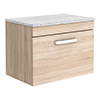 Brooklyn Wall Hung Countertop Vanity Unit - Natural Oak - 600mm with White Worktop & Chrome Handle profile small image view 1