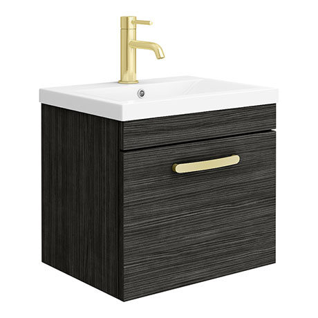 Brooklyn 500mm Black Wall Hung 1-Drawer Vanity Unit with Brushed Brass Handle