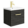 Brooklyn 500mm Black Wall Hung 1-Drawer Vanity Unit with Brushed Brass Handle profile small image view 1