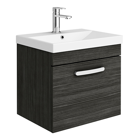 Brooklyn 500 Black Wall Hung 1-Drawer Vanity Unit with Thin-Edge Basin