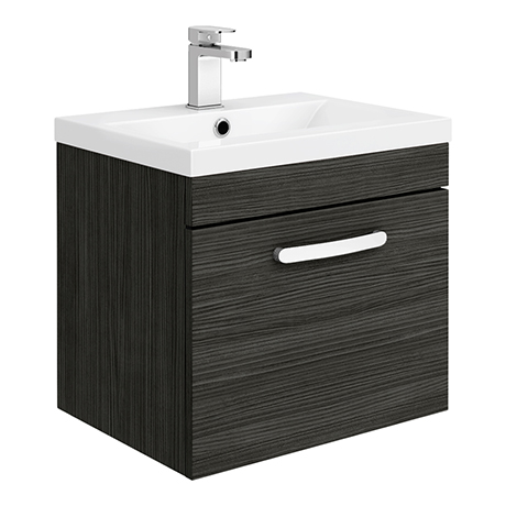 Brooklyn 500mm Black Wall Hung Vanity Unit - Single Drawer