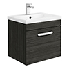 Brooklyn 500mm Black Wall Hung Vanity Unit - Single Drawer profile small image view 1