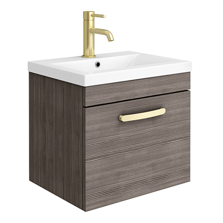 Brooklyn 500mm Grey Avola Wall Hung 1-Drawer Vanity Unit with Brushed Brass Handle
