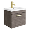 Brooklyn 500mm Grey Avola Wall Hung 1-Drawer Vanity Unit with Brushed Brass Handle profile small image view 1