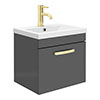 Brooklyn 500mm Gloss Grey Wall Hung 1-Drawer Vanity Unit with Brushed Brass Handle profile small image view 1