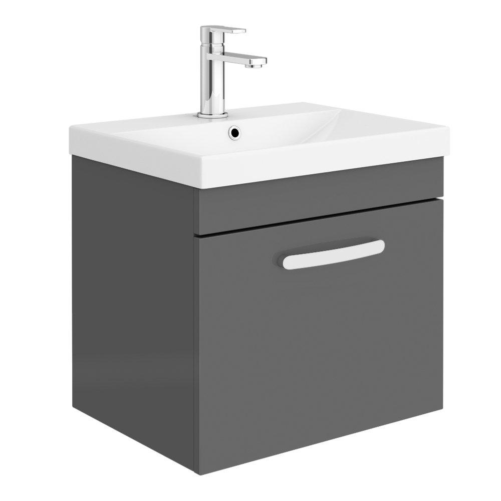 Brooklyn 500 Gloss Grey Wall Hung 1-Drawer Vanity Unit with Thin-Edge Basin