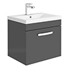 Brooklyn 500mm Gloss Grey Wall Hung 1-Drawer Vanity Unit profile small image view 1