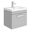 Brooklyn 500 Grey Mist Wall Hung 1-Drawer Vanity Unit with Thin-Edge Basin profile small image view 1