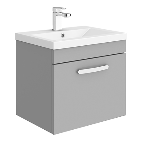 Brooklyn 500mm Grey Mist Wall Hung 1-Drawer Vanity Unit