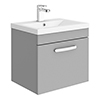 Brooklyn 500mm Grey Mist Wall Hung 1-Drawer Vanity Unit profile small image view 1