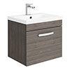 Brooklyn 500mm Grey Avola Wall Hung Vanity Unit - Single Drawer profile small image view 1