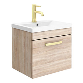 Brooklyn 500mm Natural Oak Wall Hung 1-Drawer Vanity Unit with Brushed Brass Handle
