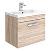 Brooklyn 500mm Natural Oak Wall Hung Vanity Unit - Single Drawer profile small image view 1