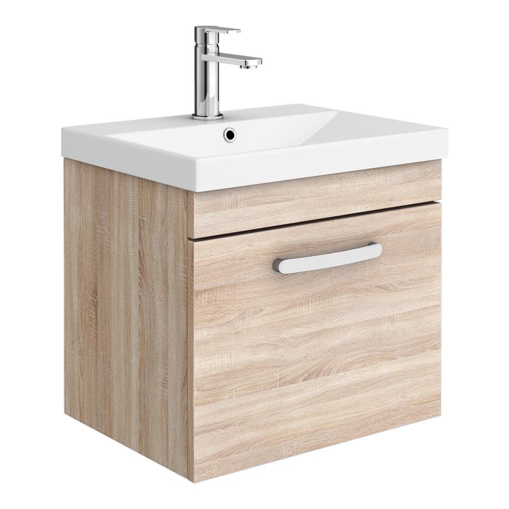 Brooklyn 500 Natural Oak Wall Hung 1-Drawer Vanity Unit with Thin-Edge Basin