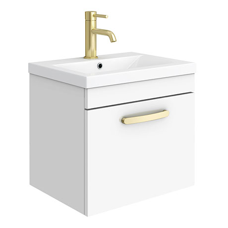 Brooklyn 500mm Gloss White Wall Hung 1-Drawer Vanity Unit with Brushed Brass Handle