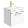 Brooklyn 500mm Gloss White Wall Hung 1-Drawer Vanity Unit with Brushed Brass Handle profile small image view 1