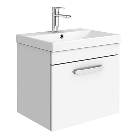 Brooklyn 500 Gloss White Wall Hung 1-Drawer Vanity Unit with Thin-Edge Basin