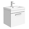 Brooklyn 500 Gloss White Wall Hung 1-Drawer Vanity Unit with Thin-Edge Basin profile small image view 1