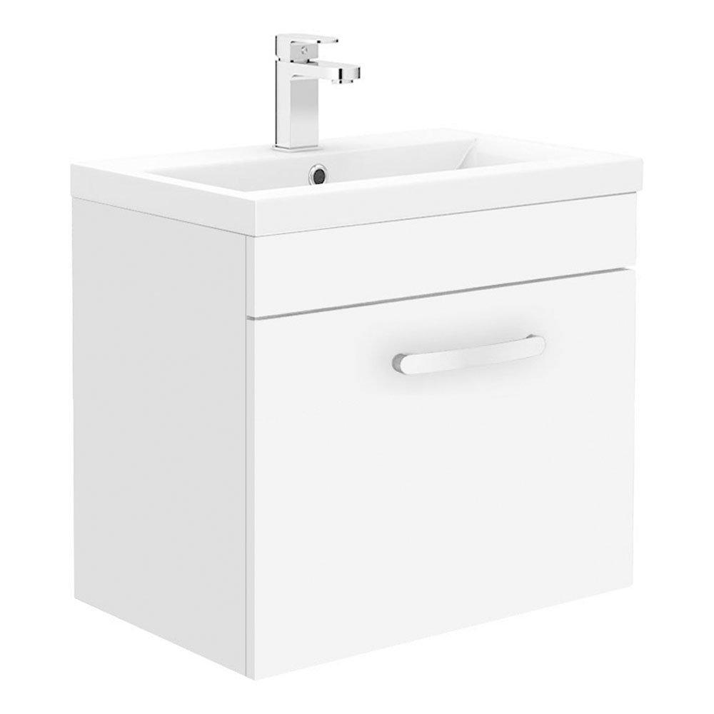 Brooklyn 500mm Gloss White Wall Hung 1-Drawer Vanity Unit