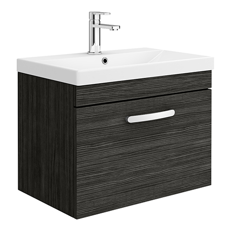 Brooklyn 600 Black Wall Hung 1-Drawer Vanity Unit with Thin-Edge Basin