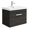 Brooklyn 600 Black Wall Hung 1-Drawer Vanity Unit with Thin-Edge Basin profile small image view 1