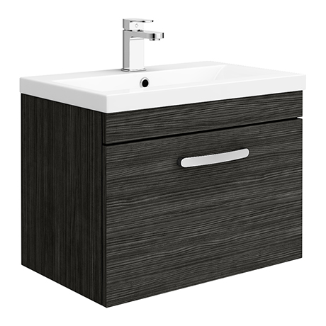 Brooklyn 600mm Black Wall Hung Vanity Unit - Single Drawer