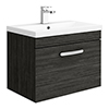 Brooklyn 600mm Black Wall Hung Vanity Unit - Single Drawer profile small image view 1