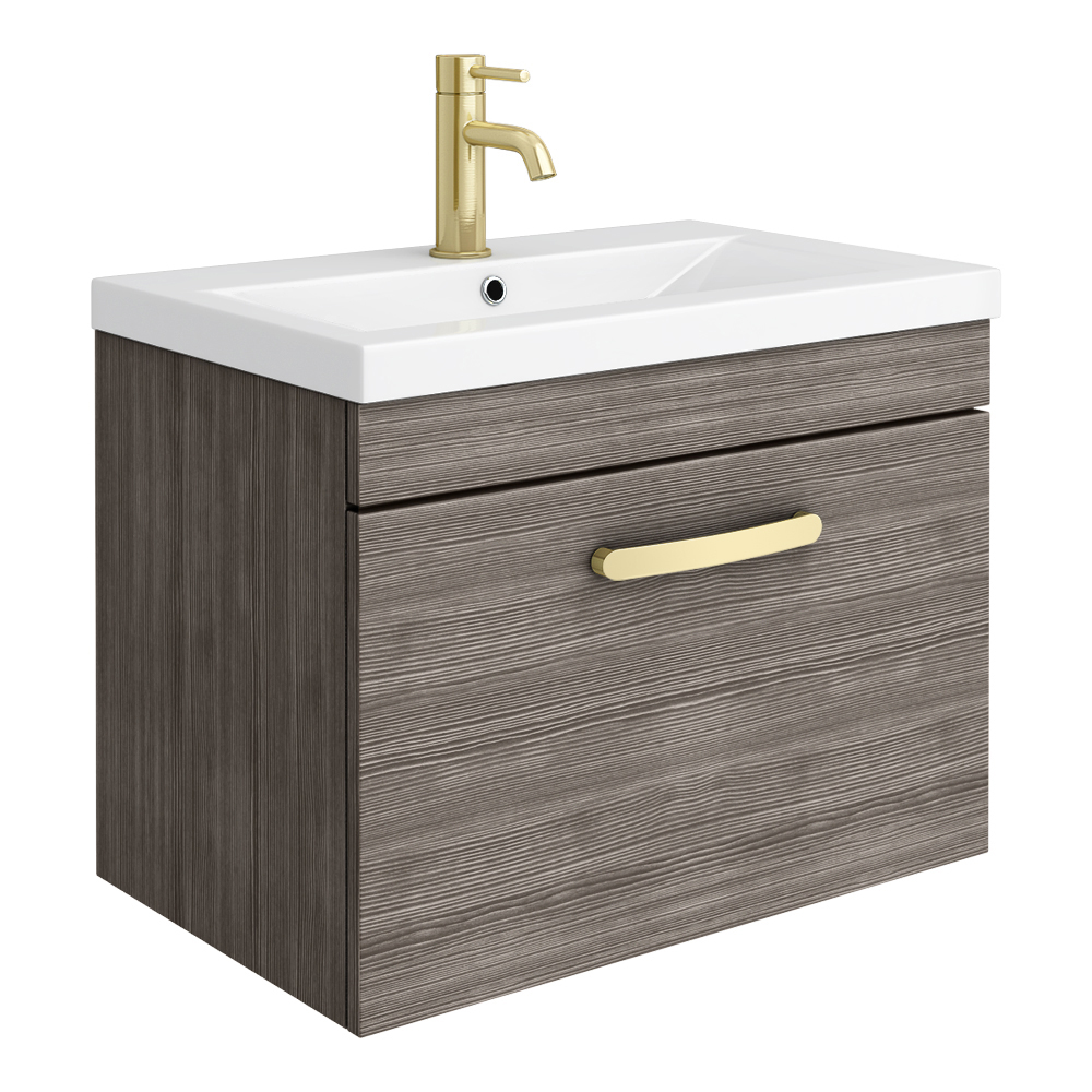 Brooklyn 600mm Grey Avola Wall Hung 1-Drawer Vanity Unit with Brushed Brass Handle