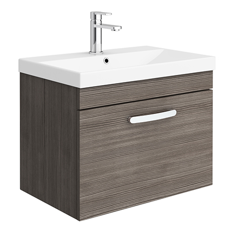 Brooklyn 600 Grey Avola Wall Hung 1-Drawer Vanity Unit with Thin-Edge Basin