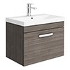Brooklyn 600 Grey Avola Wall Hung 1-Drawer Vanity Unit with Thin-Edge Basin profile small image view 1
