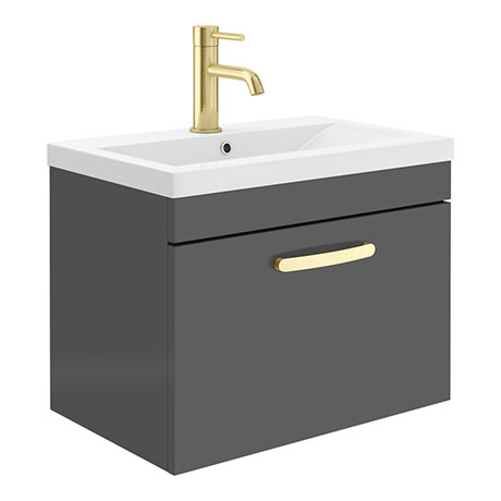 Brooklyn 600mm Gloss Grey Wall Hung 1-Drawer Vanity Unit with Brushed Brass Handle