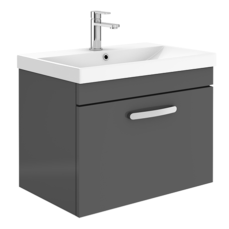 Brooklyn 600 Gloss Grey Wall Hung 1-Drawer Vanity Unit with Thin-Edge Basin