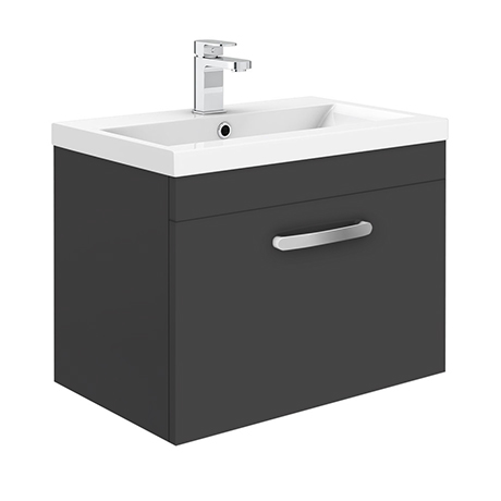 Brooklyn 600mm Gloss Grey Wall Hung 1 Drawer Vanity Unit