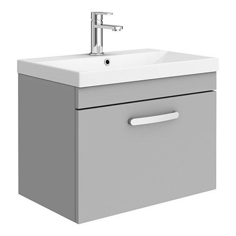 Brooklyn 600 Grey Mist Wall Hung 1-Drawer Vanity Unit with Thin-Edge Basin