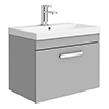 Brooklyn 600 Grey Mist Wall Hung 1-Drawer Vanity Unit with Thin-Edge Basin profile small image view 1