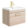 Brooklyn 600mm Natural Oak Wall Hung 1-Drawer Vanity Unit with Brushed Brass Handle profile small image view 1