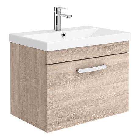 Brooklyn 600 Natural Oak Wall Hung 1-Drawer Vanity Unit with Thin-Edge Basin