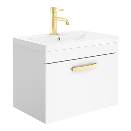 Brooklyn 600mm Gloss White Wall Hung 1-Drawer Vanity Unit with Brushed Brass Handle