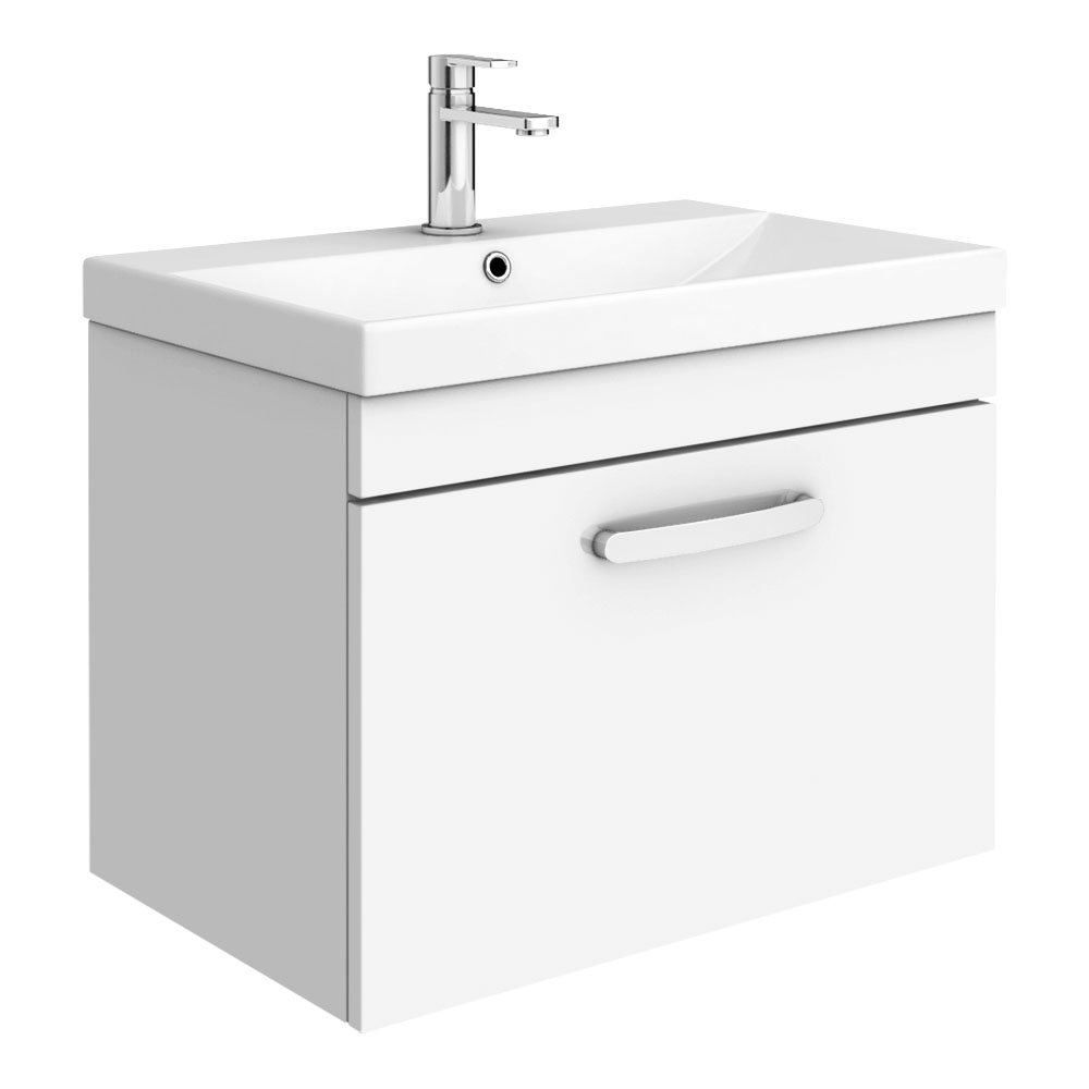 Brooklyn 600 Gloss White Wall Hung 1-Drawer Vanity Unit with Thin-Edge Basin
