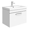 Brooklyn 600 Gloss White Wall Hung 1-Drawer Vanity Unit with Thin-Edge Basin profile small image view 1