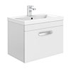 Brooklyn 600mm White Gloss Wall Hung Vanity Unit - Single Drawer profile small image view 1