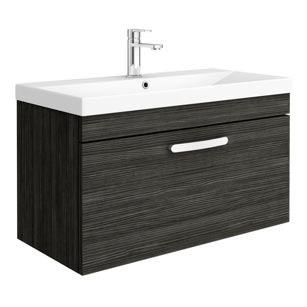 Brooklyn 800 Black Wall Hung 1-Drawer Vanity Unit with Thin-Edge Basin