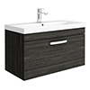 Brooklyn 800 Black Wall Hung 1-Drawer Vanity Unit with Thin-Edge Basin profile small image view 1