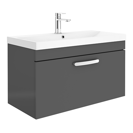 Brooklyn 800 Gloss Grey Wall Hung 1-Drawer Vanity Unit with Thin-Edge Basin