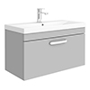 Brooklyn 800 Grey Mist Wall Hung 1-Drawer Vanity Unit with Thin-Edge Basin profile small image view 1